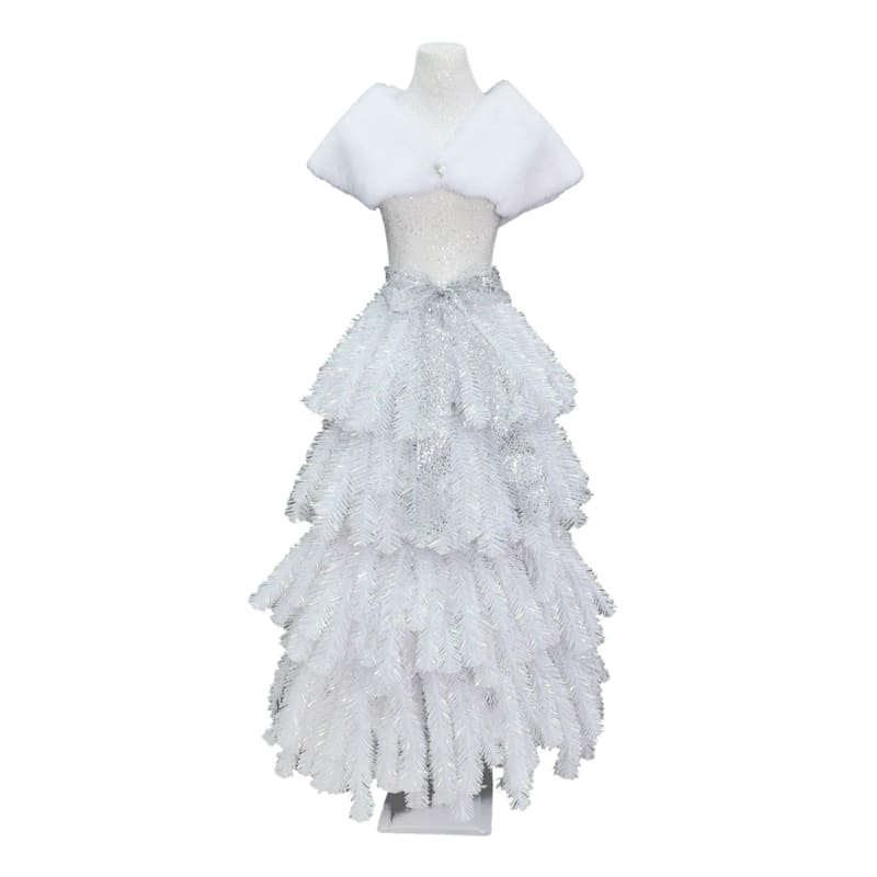 (F17) 5' White Dress-Form Christmas Tree