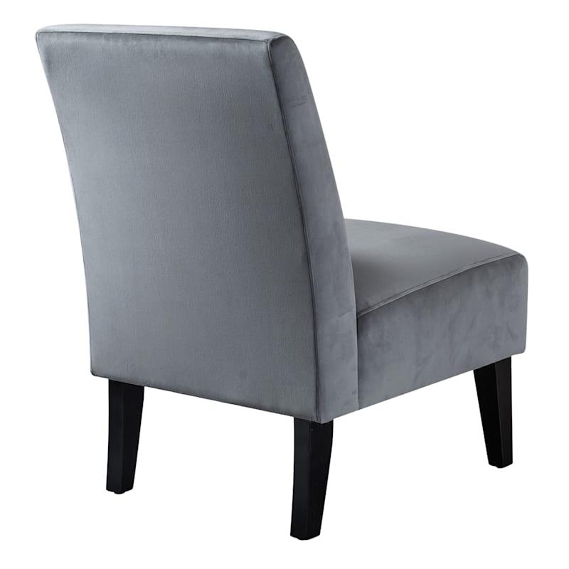 Mya Gray Velvet Slipper Chair