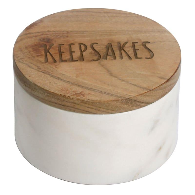 4X4 Marble And Wood Keepsake Box