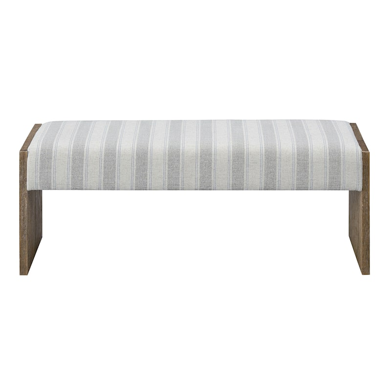 Panel Stiped Linen Solid Wood Side Bench