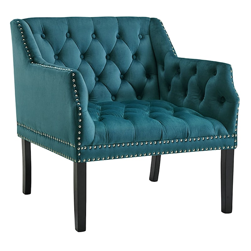 Lena Teal Velvet Tufted Arm Chair with Nailhead Trim