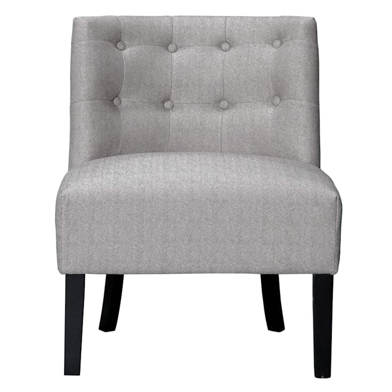 Rich Ivory Tufted Armless Accent Chair with Performace Fabric