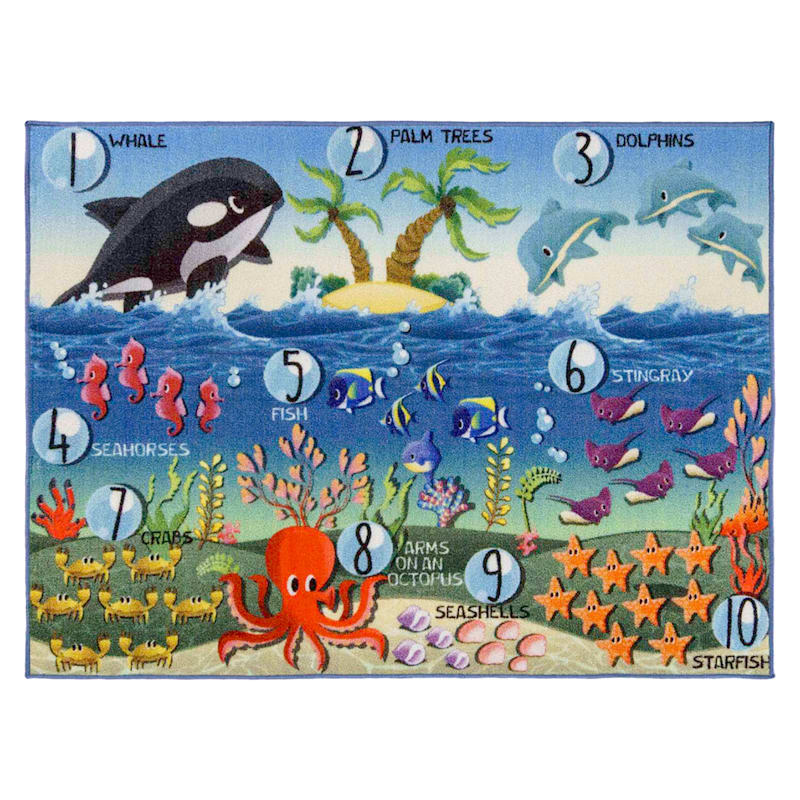 Education Rug Counting Sea Life Blue, 3x5