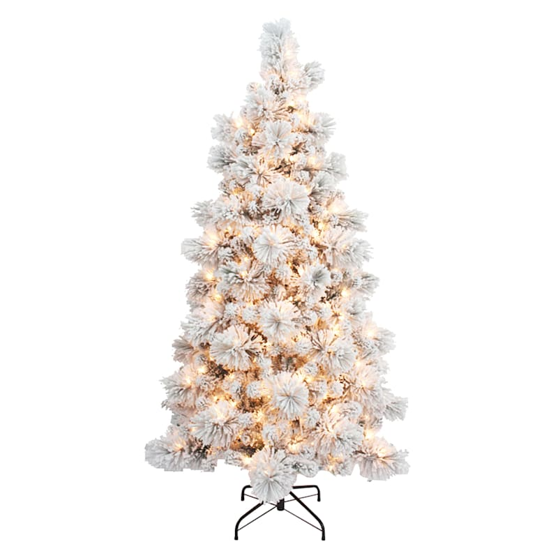 (Fl5) 6' Pre-Lit Flocked Monterey Pine Christmas Tree with 350 Lights