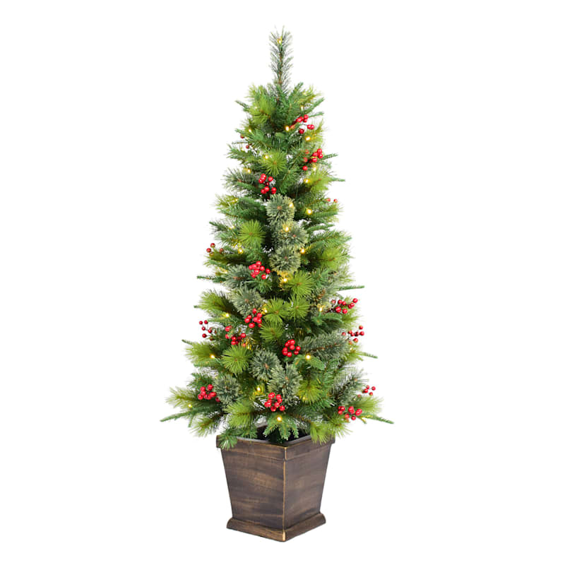 (C4) 4.5' Pre-Lit Potted Porch Christmas Tree with 70 LED Lights