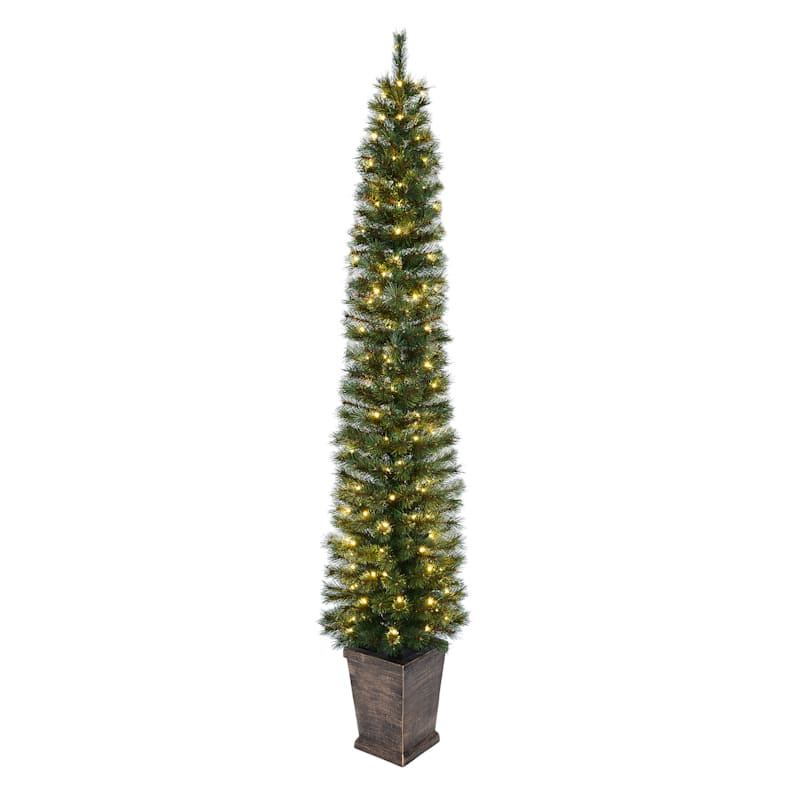 (F35) 7' Pre-Lit Potted Pine Christmas Tree with 150 LED Lights