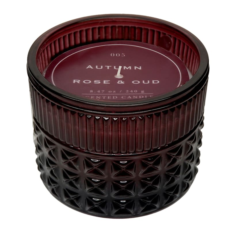 Autumn Rose 8.47oz Embossed Glass Candle