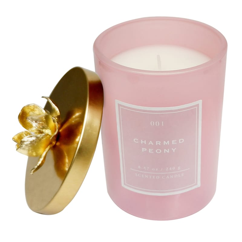 Charmed Peony 8.47oz Flower Lid Candle