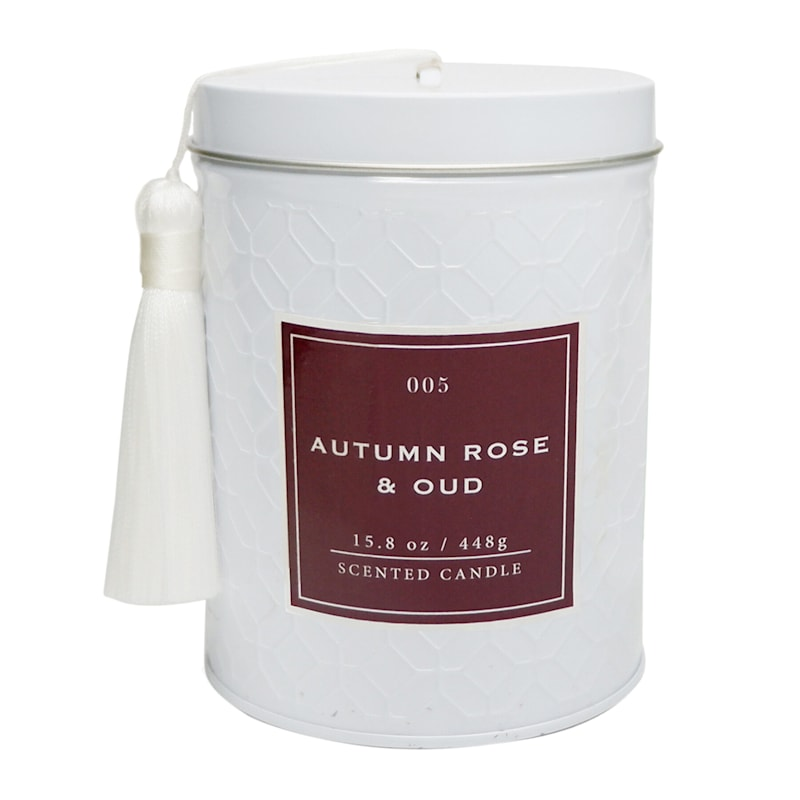 Autumn Rose 15.8oz Tassel Tin Candle