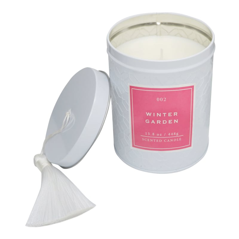 Winter Garden 15.8oz Tassel Tin Candle