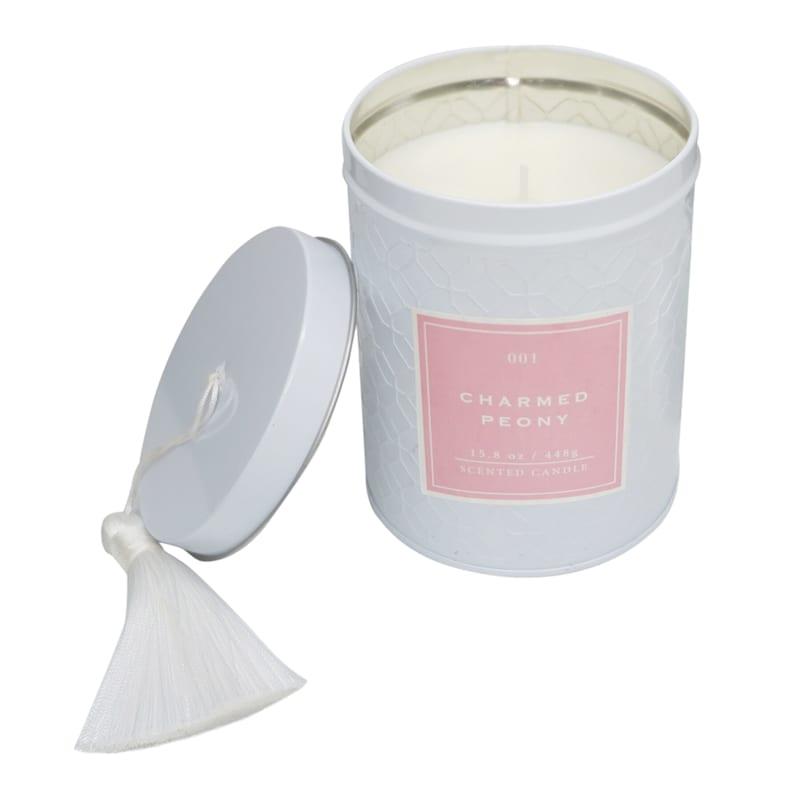 Charmed Peony 15.8oz Tassel Tin Candle