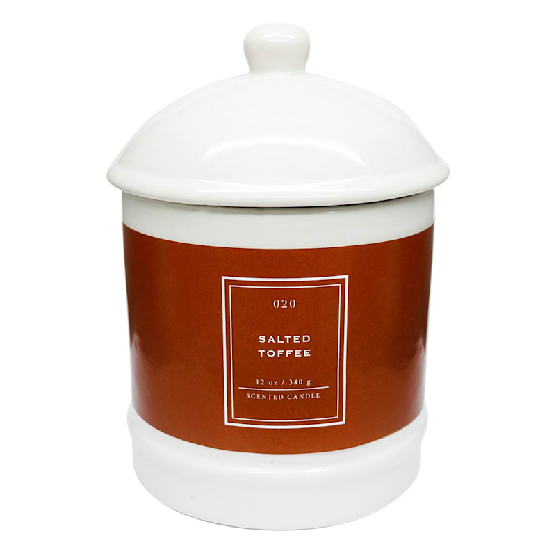 Candle in White Ceramic Ginger Jar, 12 oz., Salted Toffee