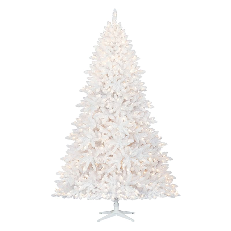 (F14) 7.5' Pre-Lit White Flocked Christmas Tree with 700 Lights