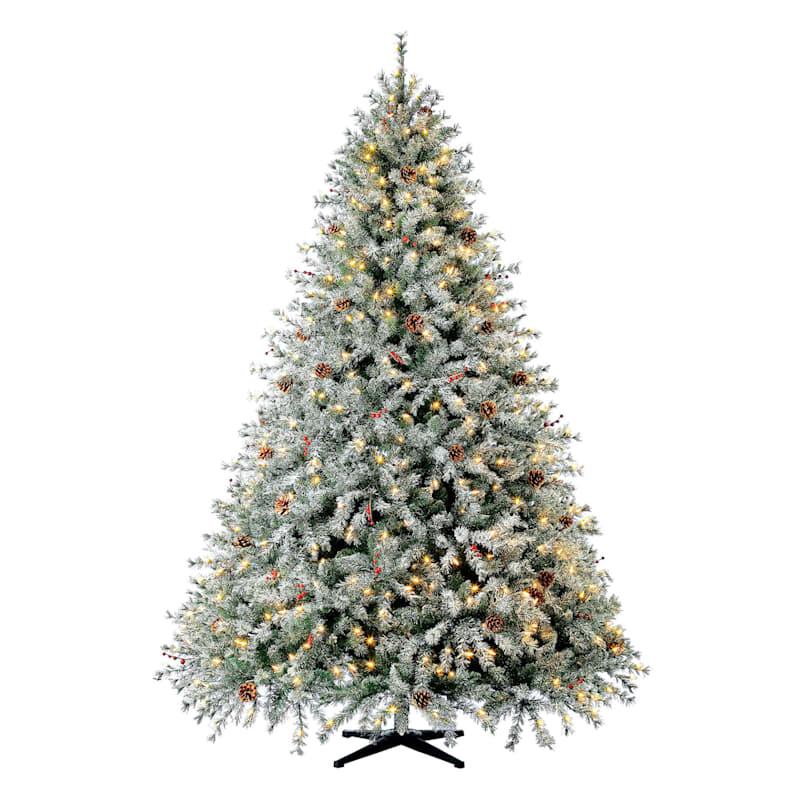 (F38) 7.5' Pre-Lit Flocked Skip Needle Pine Christmas Tree with 550 LED Lights