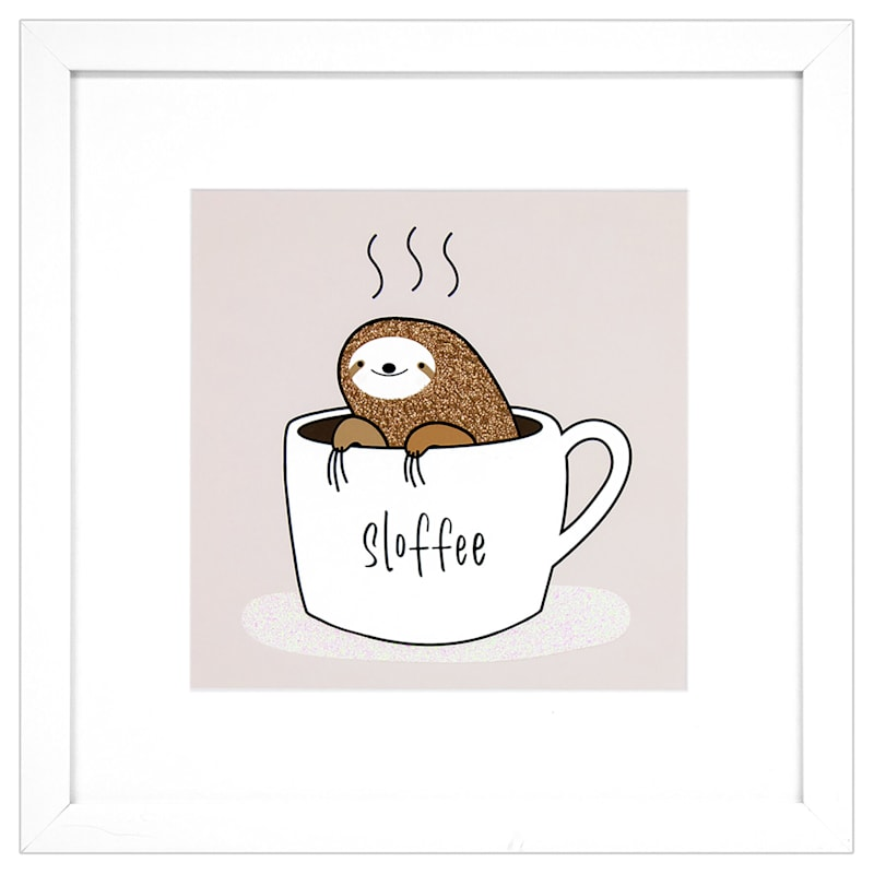 11.5X11.5 Glitter Sloth Coffee Cup Framed Art Under Glass