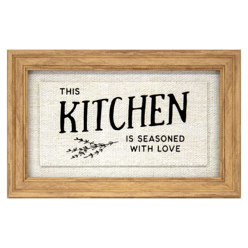 12X7 This Kitchen Is Seasoned With Love Framed Art Under Glass