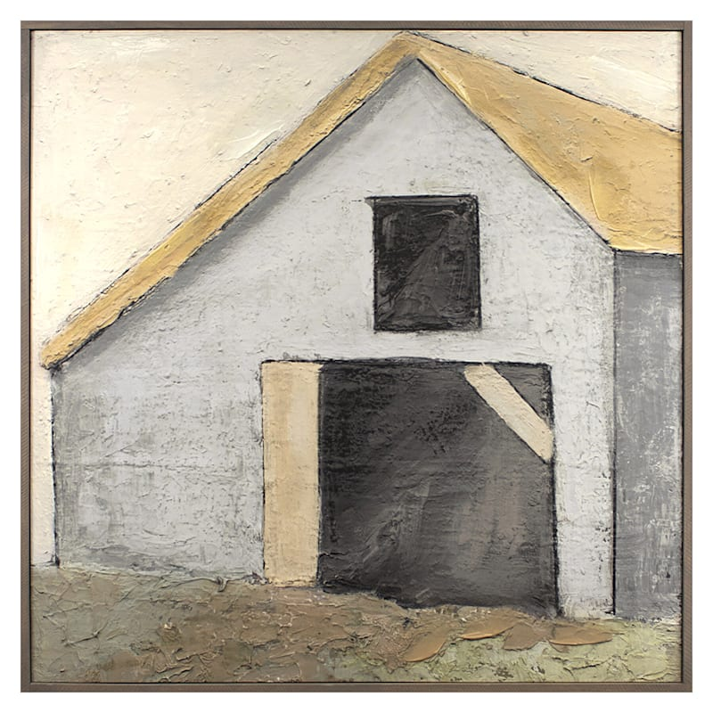 Stucco Barn Framed Canvas Wall Art