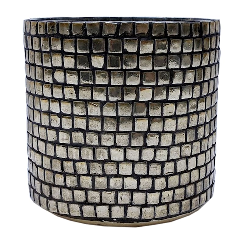 4in. Glass Mosaic Gold Hurricane