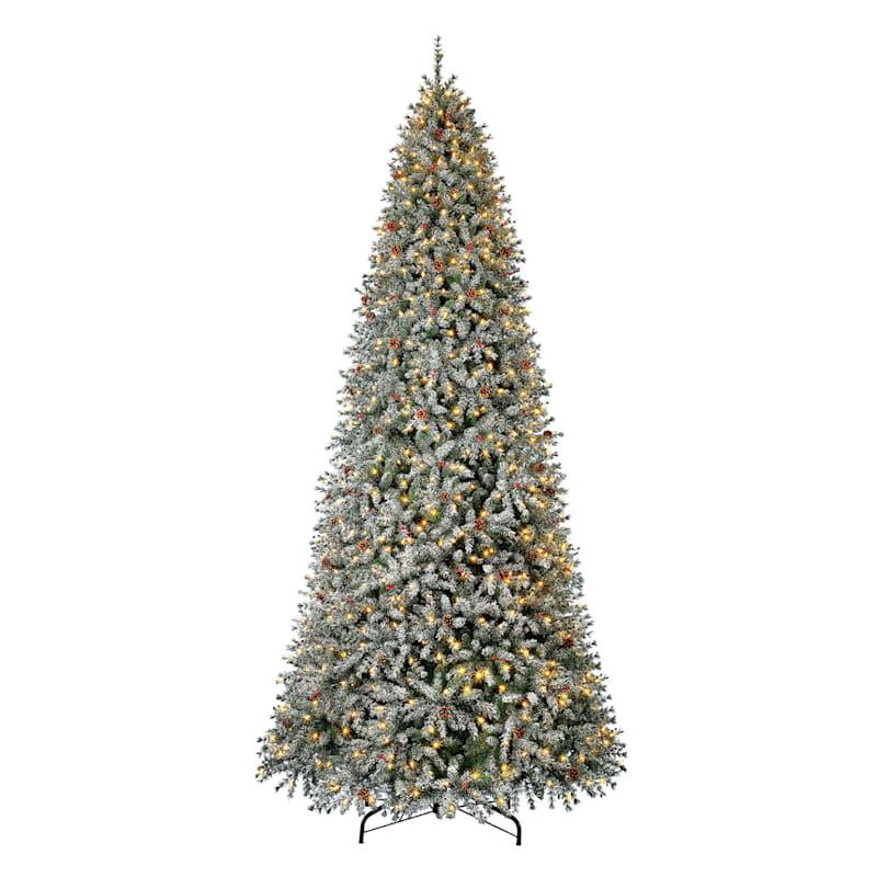 (C47) 12' Pre-Lit Flocked Skip Needle Pine Christmas Tree with 1, 000 LED Lights