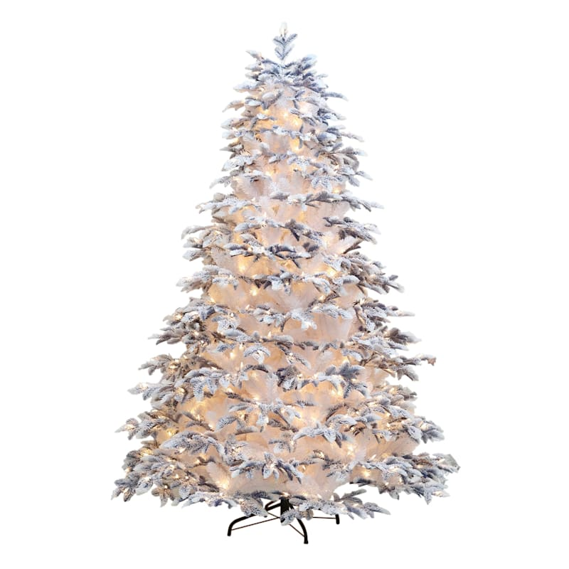 (F27) 7.5' Pre-Lit White with Blue Tips Christmas Tree with 700 LED Lights