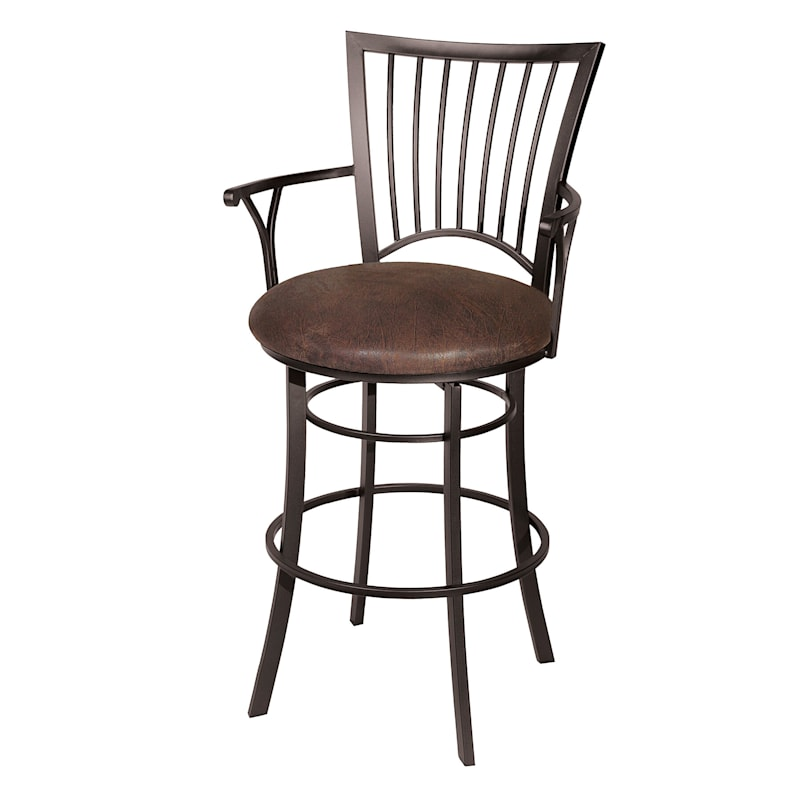 """Tyler Swivel Barstool with Arms & Faux Leather Upholstered Seat, 30"""""""