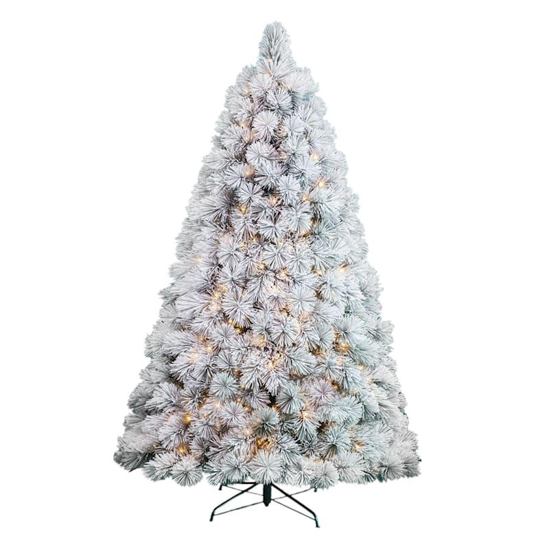 (Fl11) 7.5' Pre-Lit Flocked Pine Christmas Tree with 500 Lights
