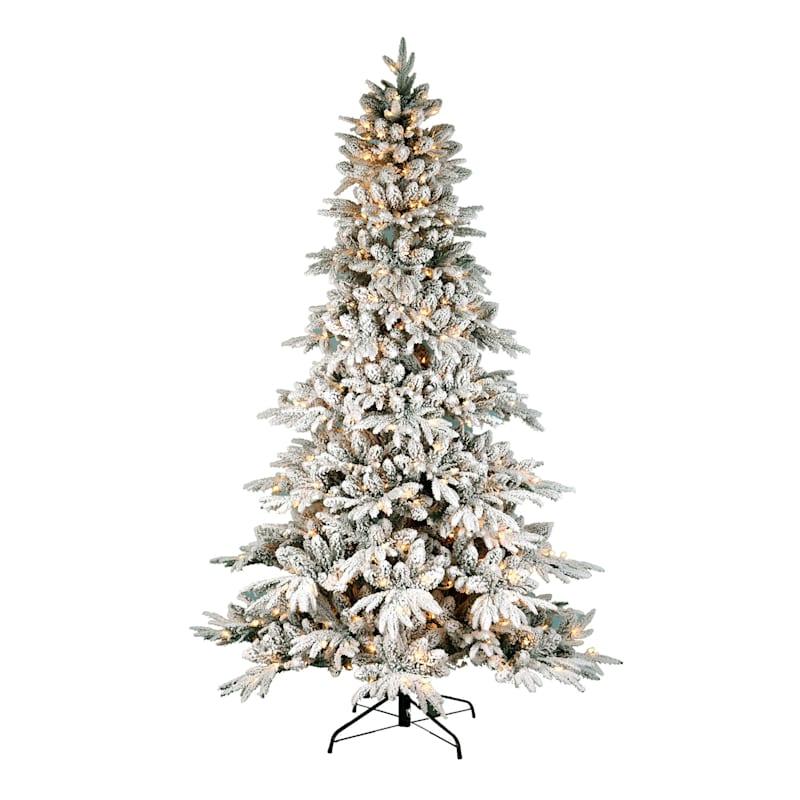 (FL12) 7.5' Pre-Lit Flocked Nordmann Fir Christmas Tree with 500 Lights