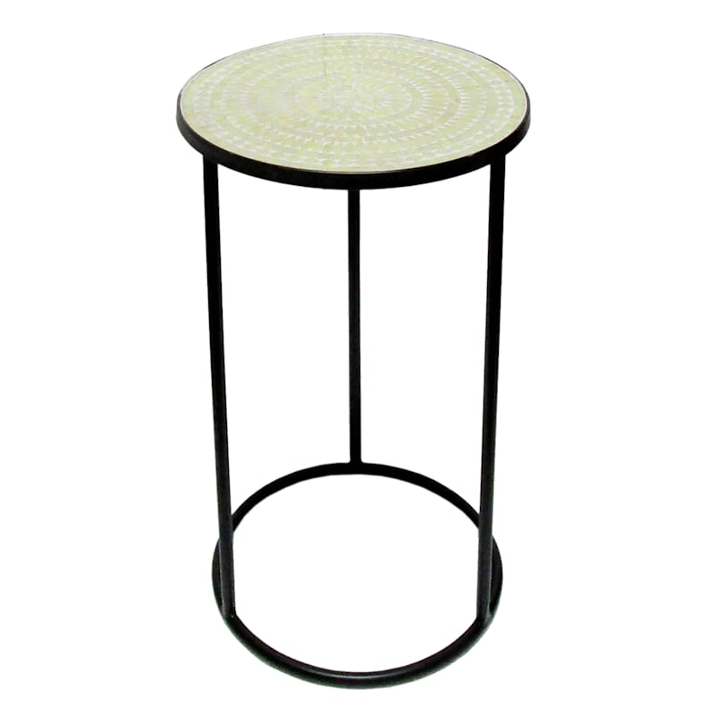 Neutral Pattern Mosaic Accent Table With Metal Base, Small