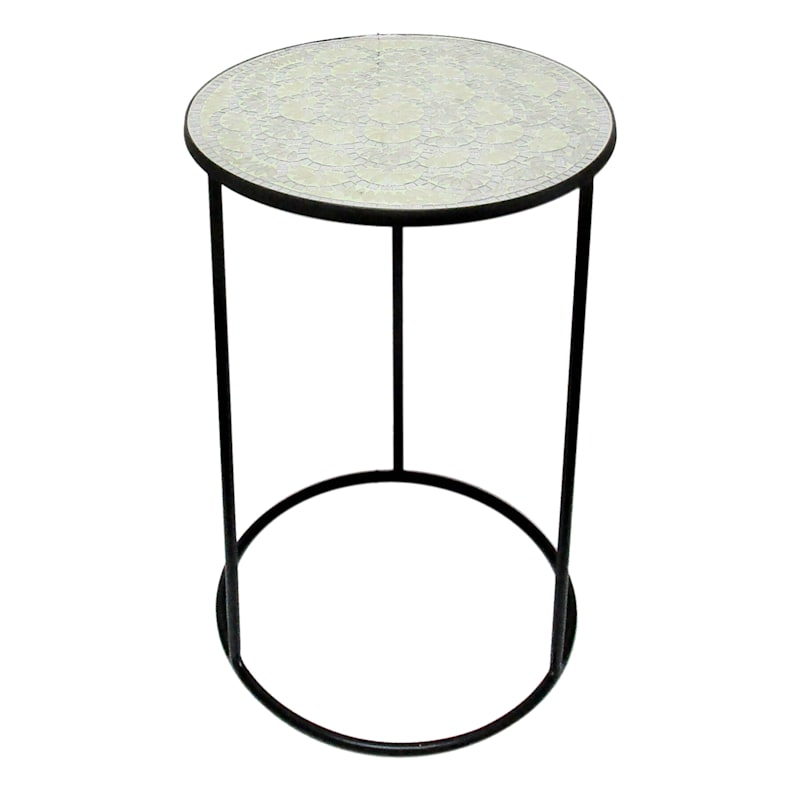 Neutral Pattern Mosaic Accent Table With Metal Base, Large