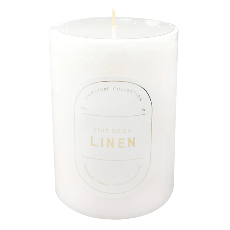 3X4 Line Dried Linen Scented Pillar Candle