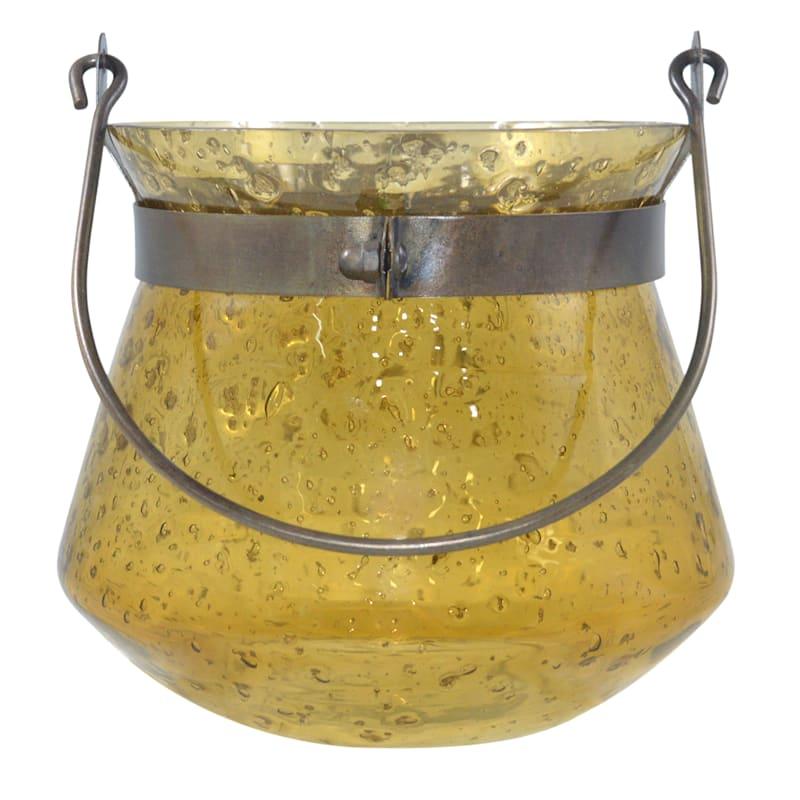 Glass Lantern Yellow 7X7