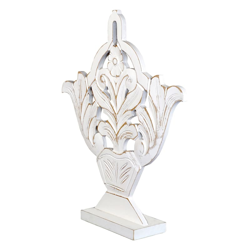 Grace Mitchell 13X15 White Carved Wood Decor