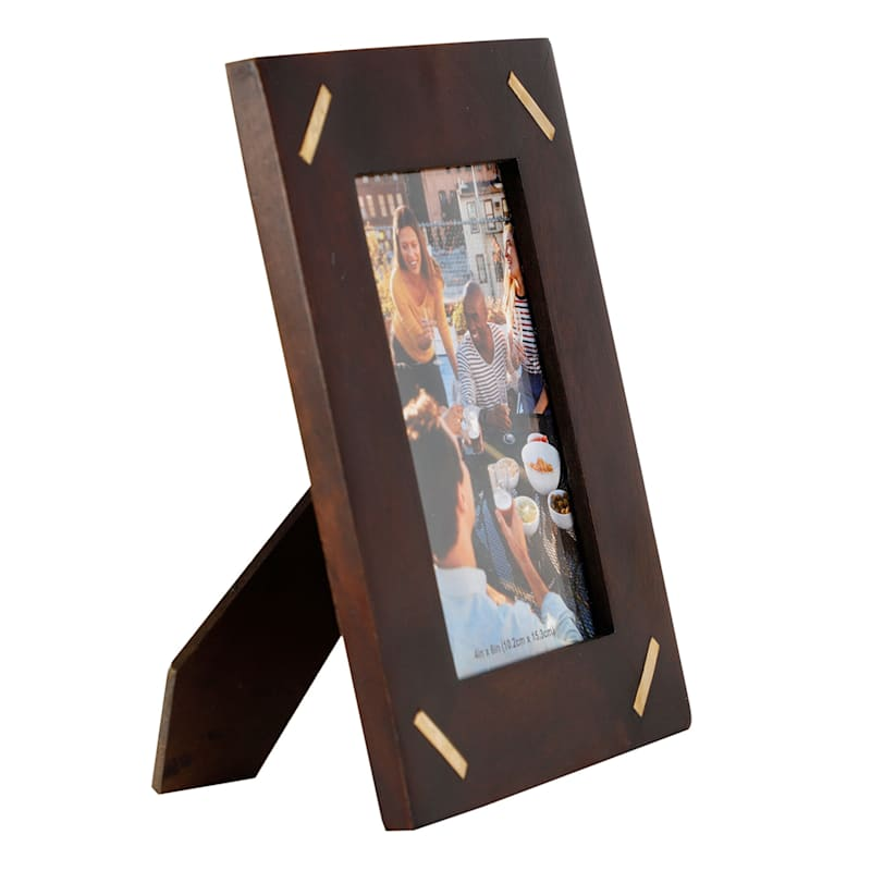 4X6 Photo Frame With Brass Inlay