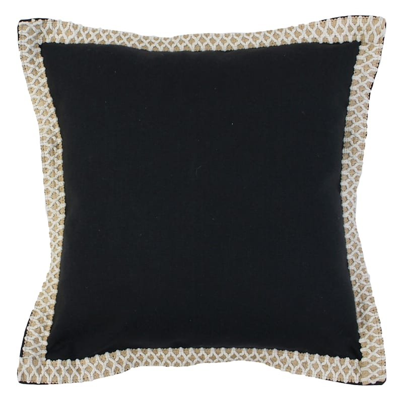 Andrea Black Emroidered Flange Pillow 20in.