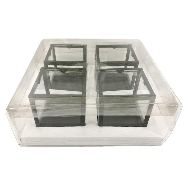 Set Of 4 Black Glass Votive Holder 3.8X3.6
