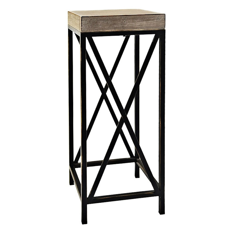 Grace Mitchell Wood Top Plant Stand With Metal X Side Base