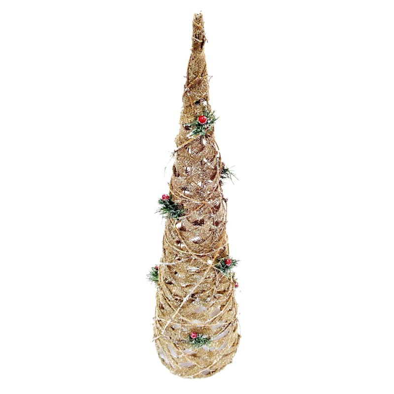 """Rattan & Burlap Cone Tree, 30"""""""