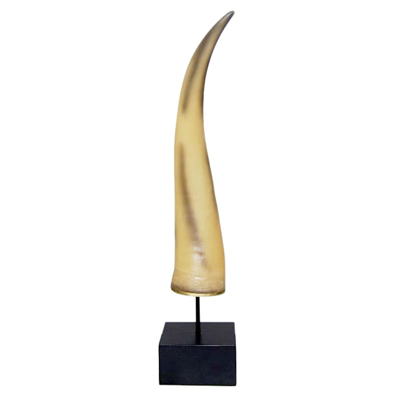 Resin Ox Horn on Stand, 18in.