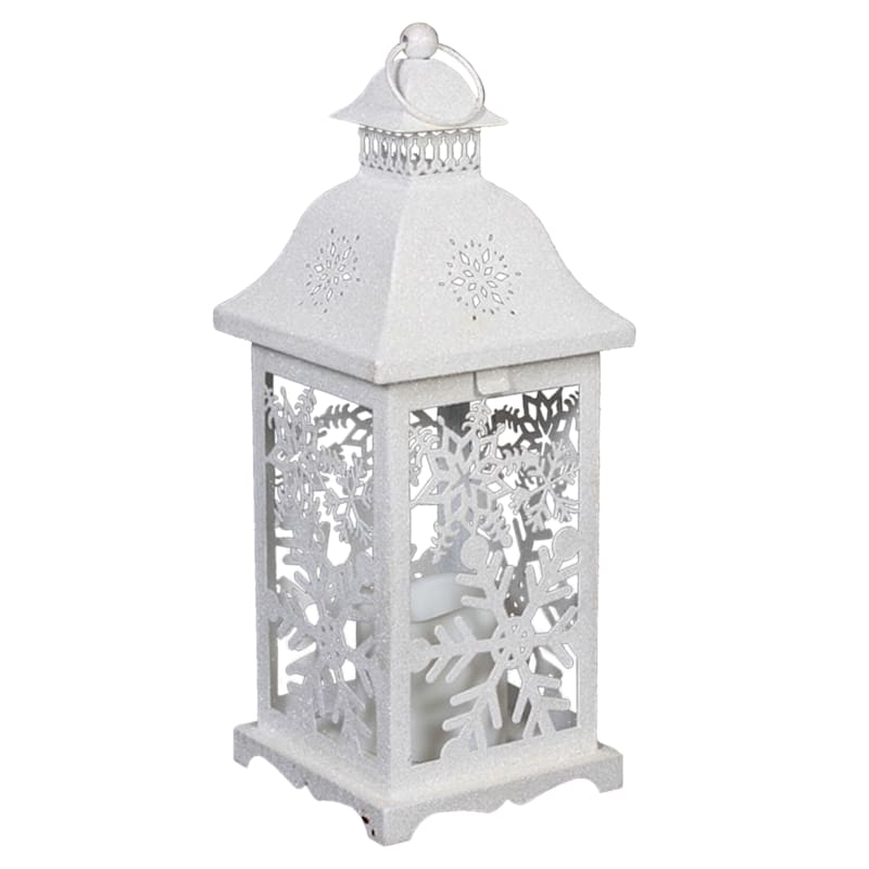 Grace Mitchell White Metal Snowflake Lantern with LED Candle, 14""