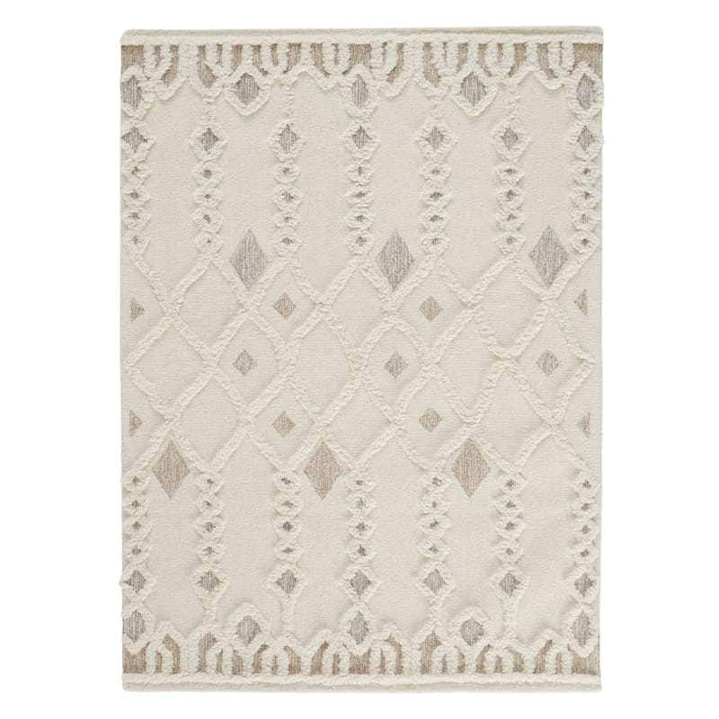 (A457) Hasina Ivory Tribal Design Textured Handmade Wool Area Rug, 5x7