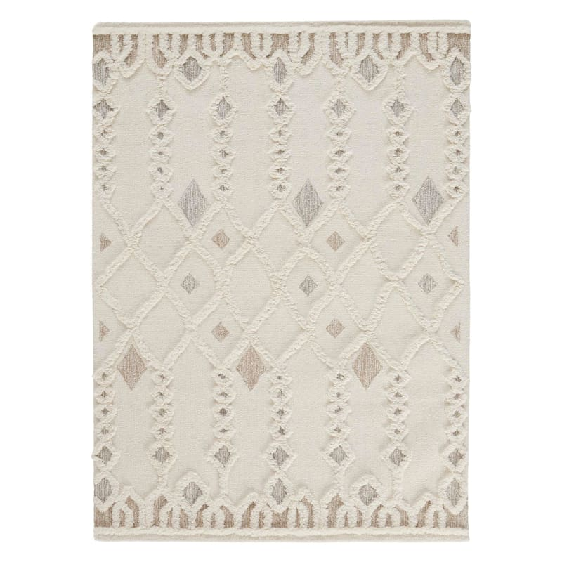 (A457) Hasina Ivory Tribal Design Textured Handmade Wool Area Rug, 8x10