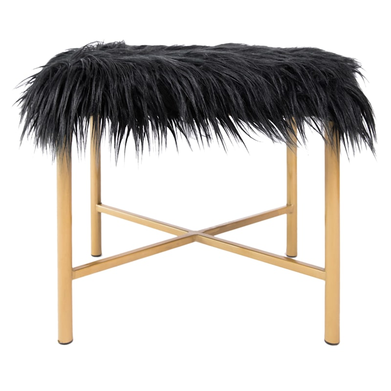 Tracy Black Faux Fur Bench with Gold Legs