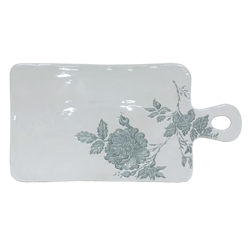 Grace Mitchell Embossed Floral Ceramic Serving Board