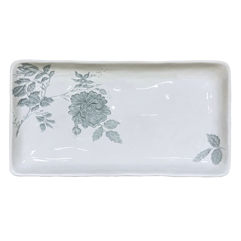 Grace Mitchell Floral Embossed Ceramic Tray, 16""