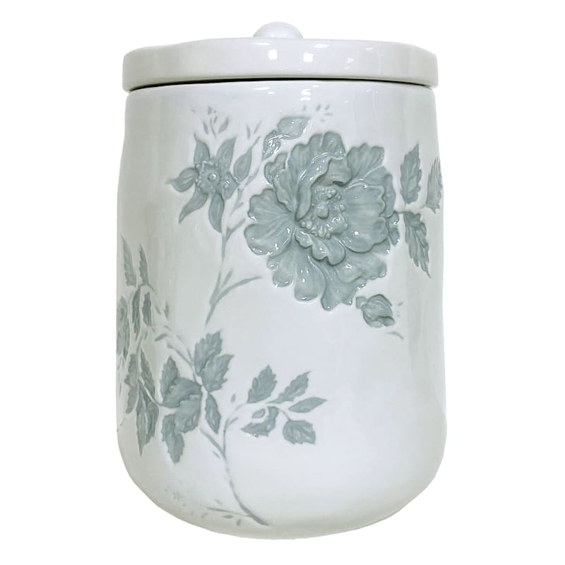 Grace Mitchell Floral Embossed Ceramic Canister, Large