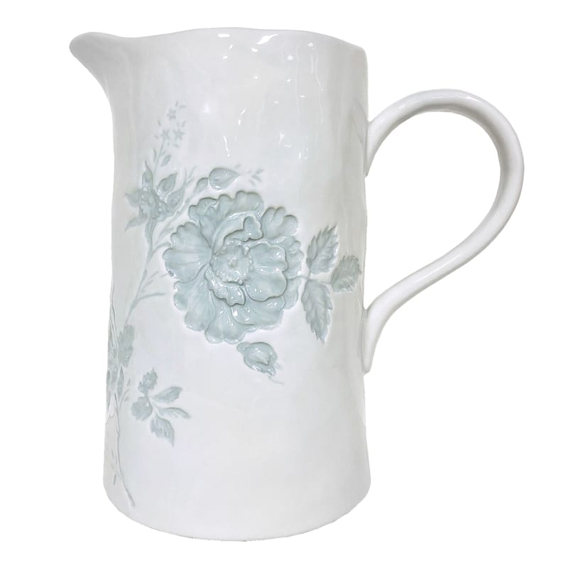 """Grace Mitchell Floral Embossed Ceramic Pitcher, 10"""""""