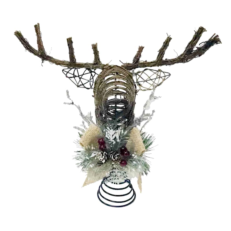 Rattan Deer Head Tree Topper
