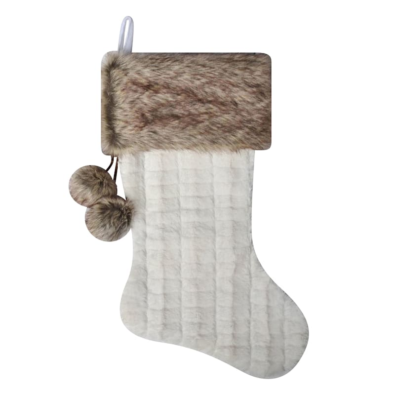 Ivory Christmas Stocking with Faux Fur Cuff