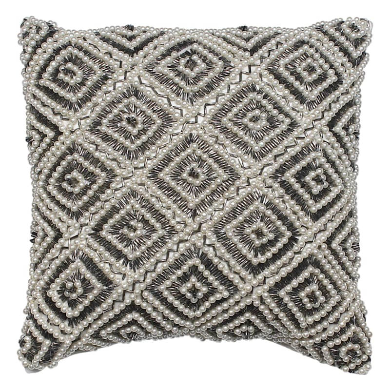 Diamond Shape Pearl Beaded Pillow 12X12
