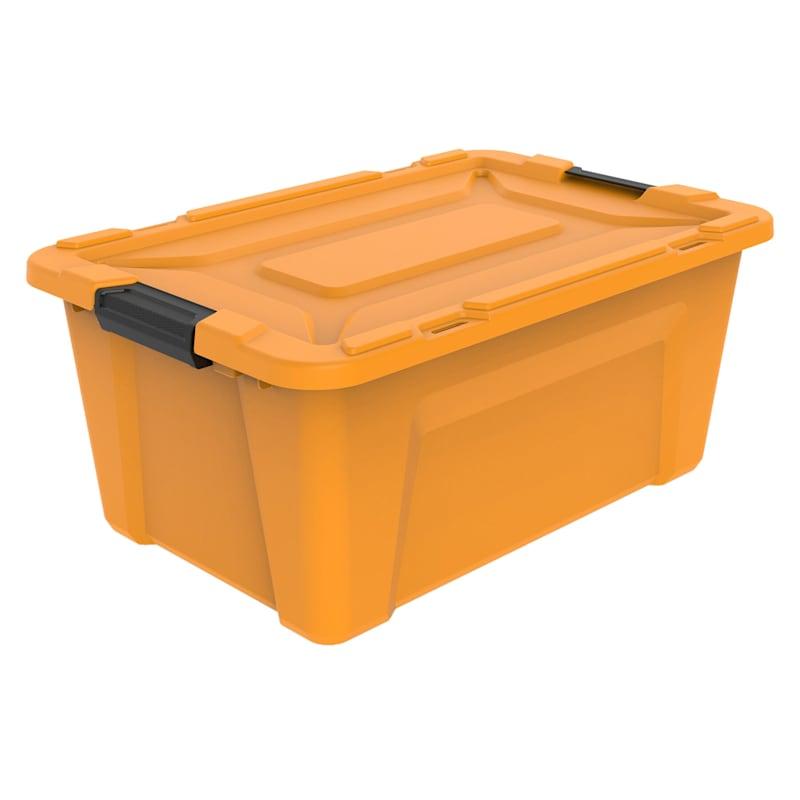 15.3-Gallon Halloween Orange Latch Tote